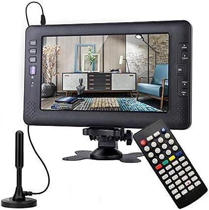 SOYAR (22.86cm) Televisor Digital DVB-T2 de 9 Pulgadas, TV portátil con batería Recargable, USB, Entrada de Auriculares, Control Remoto, Entrada AV., DC120V, Color Negro