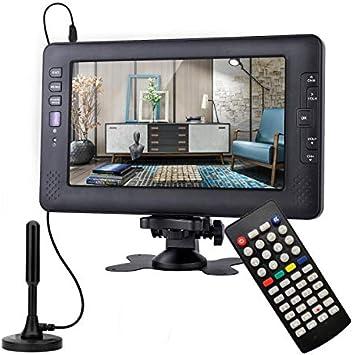 SOYAR (22.86cm) Televisor Digital DVB-T2 de 9 Pulgadas, TV portátil con batería Recargable, USB, Entrada de Auriculares, Control Remoto, Entrada AV., DC120V, Color Negro: Amazon.es: Electrónica