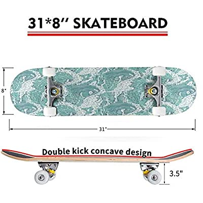 Classic Concave Skateboard Vector Waves sea Ocean Seamless Pattern Big and Small Azure Bursts Longboard Maple Deck Extreme Sports and Outdoors Double Kick Trick for Beginners and Professionals : Sports & Outdoors