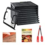 Excalibur 3926TCDB Dehydrator 9-Tray Clear Door w/ Timer in Black + Preserve It Naturally Book + Paraflexx Reusable Sheet 14x14 + 8'' Flipper Tongs