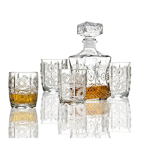 Five Piece Whiskey Decanter and Glasses Set ()