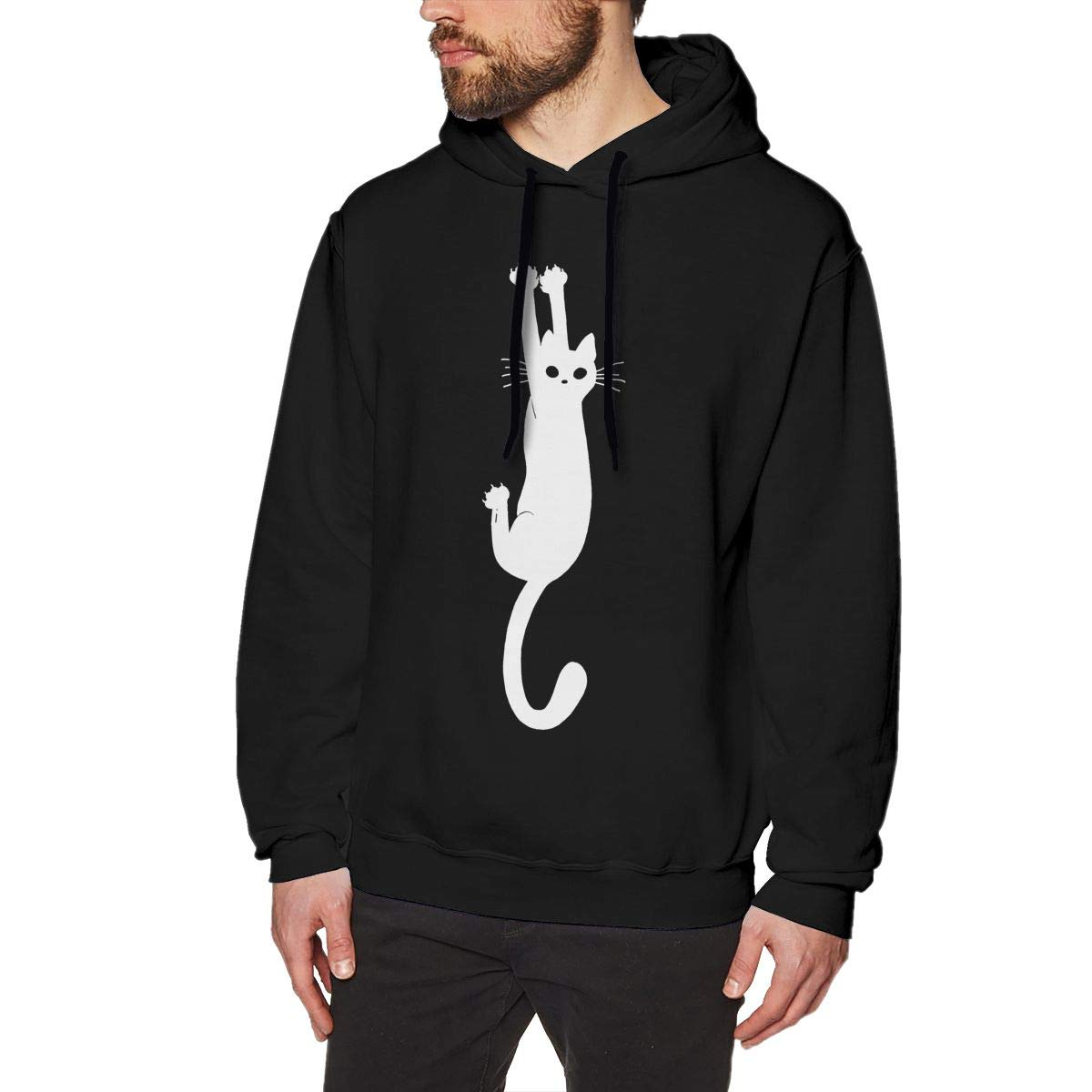 Black Cat Holding On Mens Hoodie Fashion Pullover Sweatshirt