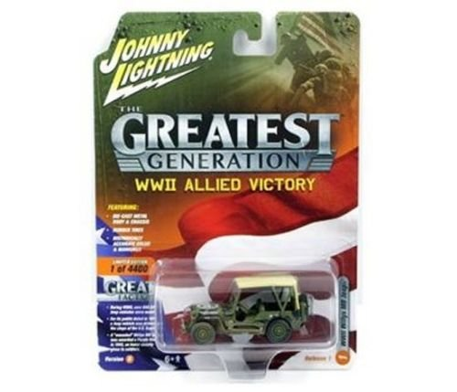 Johnny Lightning 1: 64 The Greatest Generation: WWII Allied Victory - Willys MB Jeep with Beige Soft Top (Dirty Version) Diecast Vehicles from Johnny Lightning