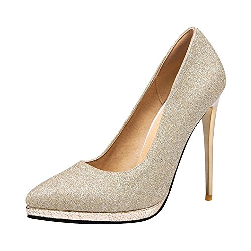 OCHENTA Mujer Atractivos de Moda Zapatos de Tacón Alto 12,5CM Boda Dorado