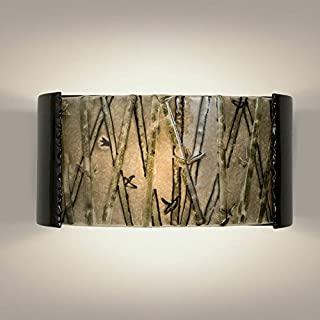 product image for A19 Asia Wall Sconce, 3.75 by 14-Inch by 7-Inch, Black Gloss/Multi Seaweed