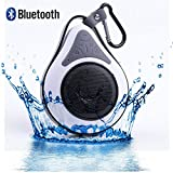 DOLIROX® Waterproof Wireless Hands Free Portable Bluetooth Speakers & Receiver with Built-in Mic and Call Answering Shower Speaker for Smartphone with Sucker and Hanger (White)