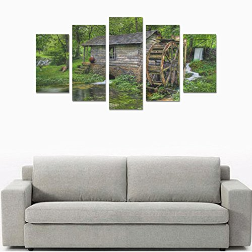 Unique Landscape Art Oil Painting Decoration Fantasy Forest Dream House Custom 100% Canvas Material Canvas Print Bedroom Wall Art Living Room Mural Decoration 5 Piece Canvas painting (No Frame) by sentufuzhuang Canvas Printing