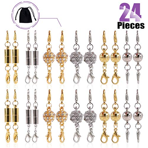 (Swpeet 24Pcs Magnetic Lobster Clasps Kit, Including 8Pcs Rhinestone Ball Magnetic Clasps, 8Pcs Ball Magnetic Clasps and 8 Pcs Cuboids Magnetic Clasps Perfect for Jewelry Necklace Bracelet)