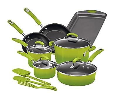 Rachael Ray 14-pc. Hard Enamel Nonstick Green Gradient Cookware Set