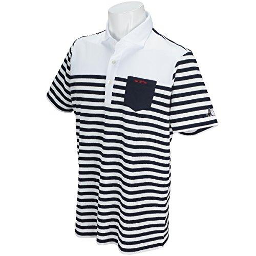 脱臼するキュービック分数ポロシャツ メンズ ブラック&ホワイト Black&White 2018 春夏 ゴルフウェア M(M) ホワイト(10) b9618gszw