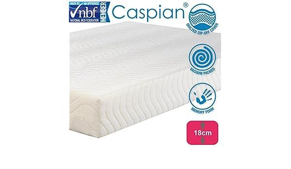 Caspian® Colchón de espuma viscoelástica, transpirable, fresco, hipoalergénico, de punto, cubierta microacolchada de lujo, toda espuma, apoyo ortopédico de ...
