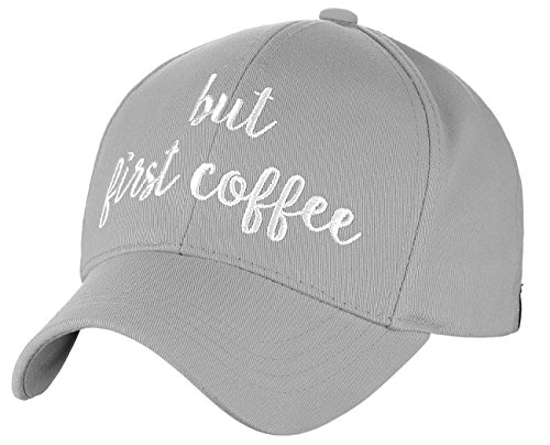 C.C Women's Embroidered Quote Adjustable Cotton Baseball Cap, But First Coffee, (Quote Womens Cap)