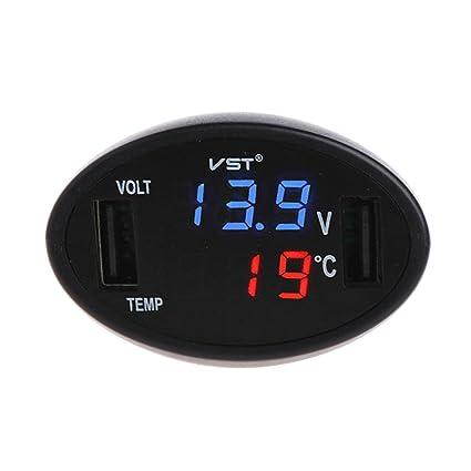 Exing Auto Termómetro, Digital LED Termómetro Voltímetro Cargador USB Coche Monitor de batería Indicador de