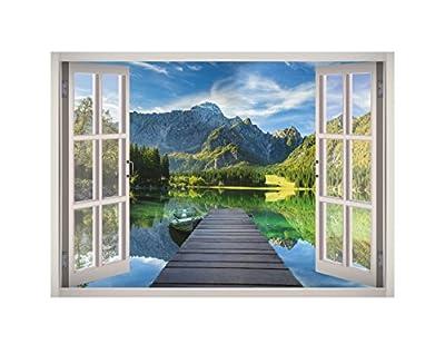 Lake Landscape View Window 3D Wall Decal Art Removable Wallpaper Mural Sticker Vinyl Home Decor West Mountain W173