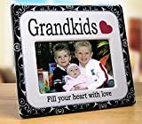 """Grandkids Picture Frame - Ceramic Picture Frame Fits a 4"""" X 6"""" Photo - Grandkids Fill You Heart with Love - Gift for Grandparents - Grandma Gift - Grandchildren Picture Frame"""