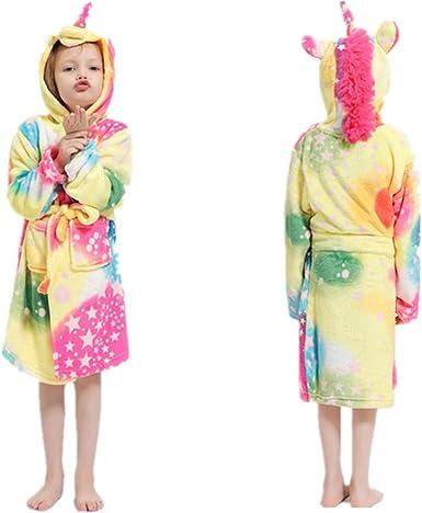 Kids Unicorn Hooded Robe Animal Pajamas Flannel Bathrobe Children Sleepwear Unicorns Gifts