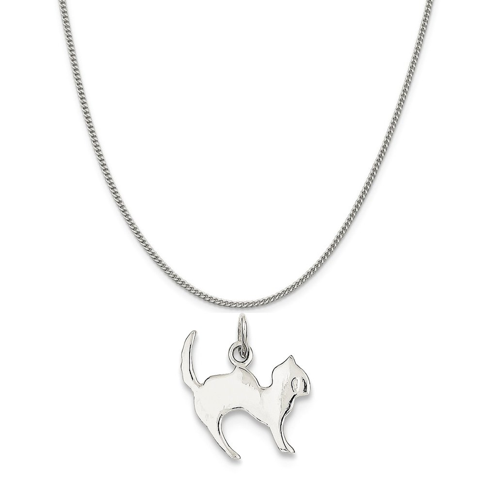Mireval Sterling Silver Cat Charm on a Sterling Silver Chain Necklace 16-20