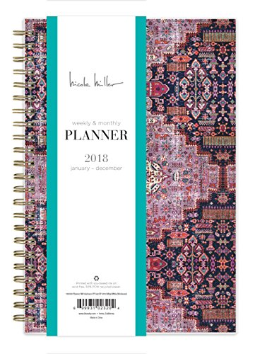 "Nicole Miller for Blue Sky 2018 Weekly & Monthly Planner, Twin-Wire Binding, 5"" x 8"", Heirloom"