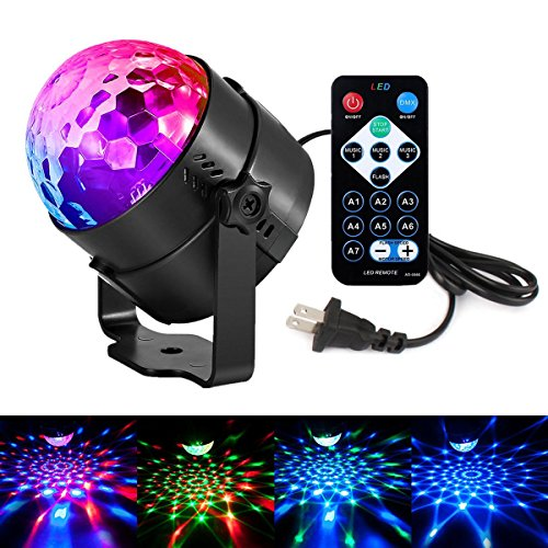 (Disco Lights LED Party Lights Sound Activated Strobe Light Stage Light Disco Ball Dj Lights for Christmas Birthday Wedding DJ Karaoke Show Club Festival Home outdoor (Full color -2))