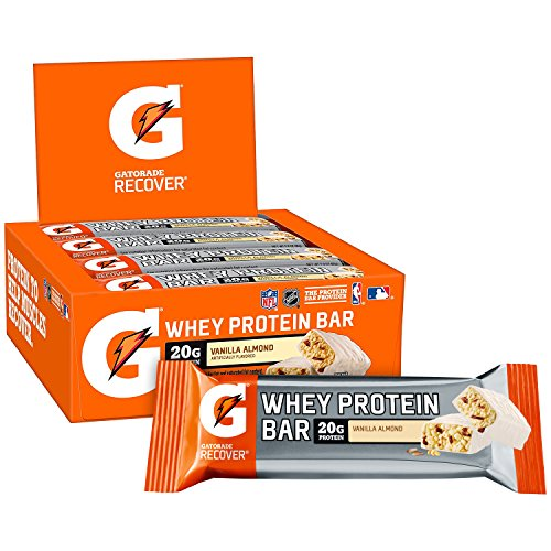Gatorade Whey Protein Bars, Vanilla Almond, 2.8 oz bars (Pack of 12, 20g of protein per ()