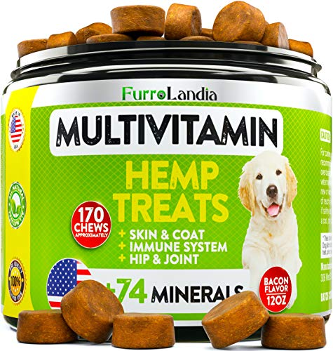 Dog-Hemp-Multivitamin-Treats-Essential-Dog-Vitamins-for-Hip-Joint-Support-Digestion-Skin-Coat-Heart-Immune-Health-With-Hemp-Oil-Kona-Berry-Green-Lipped-Mussel-170-Soft-Chews