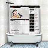 BetterJonny - New Design Youtube Video Window Bathtub Fabric Shower Curtain w/ 12 Hooks Gift New Home Decor