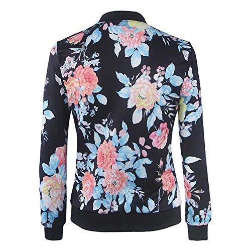 Bombardier Imprimer Femmes Longues Image Comme Floral Manches Jacket Tops Outwear Manteau Bomber Veste Zip wwSY6HRx