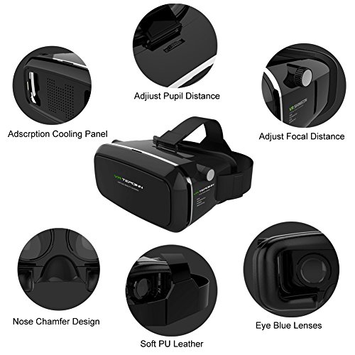 VR Headset TEPOINN Virtual Reality Headset for iPhoneX/ 8/ 8plus/7/7plus/6/6plus/6s/5, Samsung, LG & All Android Smartphone With Magnetic Front Cover, Adjust Strap by tepoinn (Image #5)