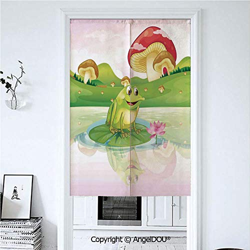 AngelDOU Animal Decor Summer Automatic Closing Curtains Valances Illustration of Cute Frog on Water Lily with Mushrooms on The Background Nature Lake Art Print Door Screen Partition 39.3x59 inches