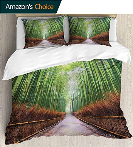 Kyoto King Bed - carmaxs-home Full Queen Duvet Cover Sets,Box Stitched,Soft,Breathable,Hypoallergenic,Fade Resistant Duvet Cover with Pillowcases Child Bedding Sets,-Japanese Bamboo Foliage in Kyoto (87