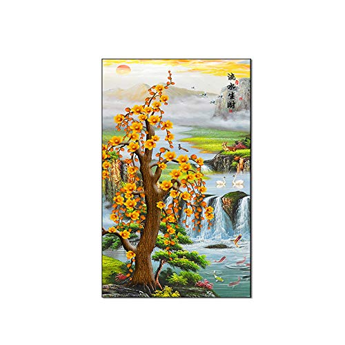 Water Feng Shui (Jiangying store Chinese feng Shui Water Making Money Vertical Version Entrance Decorative Painting CanvasPainting core Upholstery)