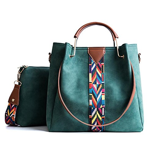 AASSDDFF Mujeres Compuesto Tote Bag Metal Handle Colorful Wide Strap Messenger Bag Women's Scrub Bolso bandolera, gris verde