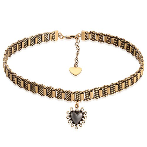 KissYan Antique Gold-Tone Metal The Queen of Heart Choker Necklace for Women Girls Collar Necklaces Handmade -