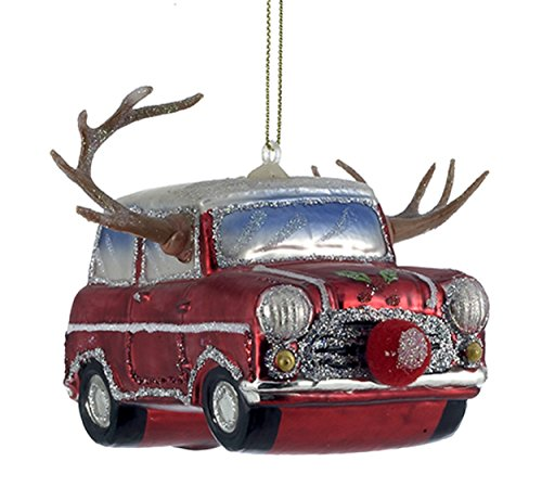 (GLASS RED CAR W/ANTLERS CHRISTMAS ORNAMENT)