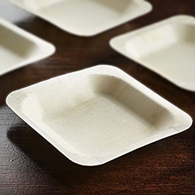 "100 Pcs - Eco-friendly Birchwood 4.5"" x 4.5"" Square Disposable Plates"