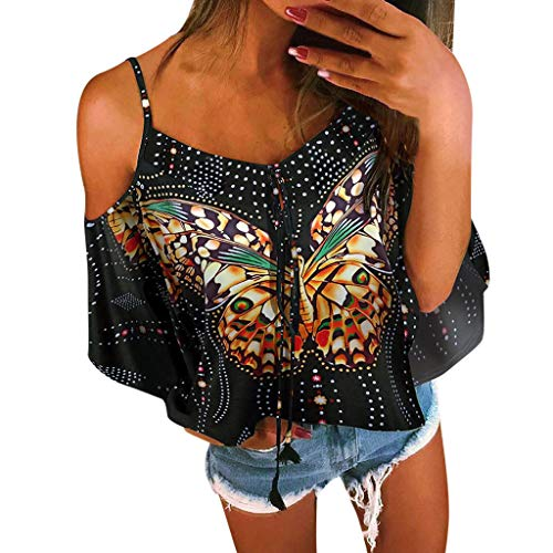 Off Shoulder 3/4 Sleeve Cuffed Floral Print Tops,Londony Women's Spaghetti Halter Bow Print Blouse Shirt Tops Black