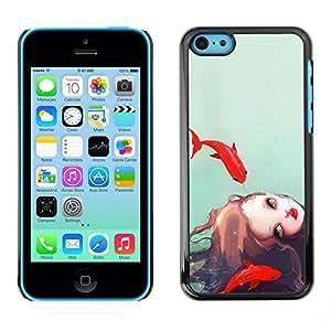 TopCaseStore / la caja del caucho duro de la cubierta de protección de la piel - Girl Watercolor Sea Deep Sad Meaning - Apple iPhone 5C
