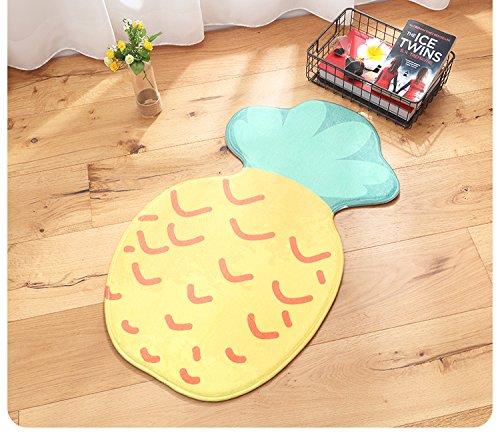 CHOOLD Cute Fruit Shaped Bedroom Area Rug Carpet Non-Slip Absorbent Indoor Outdoor Doormat for Living Room Kitchen Bathroom,Pineapple