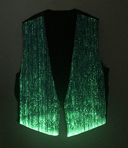 LED Fiber Optic Waistcoat Light up Vest for Men Fashion Glow in The Dark Luminous Vest (XL, Blue) by Fiber Optic Fabric Clothing (Image #1)