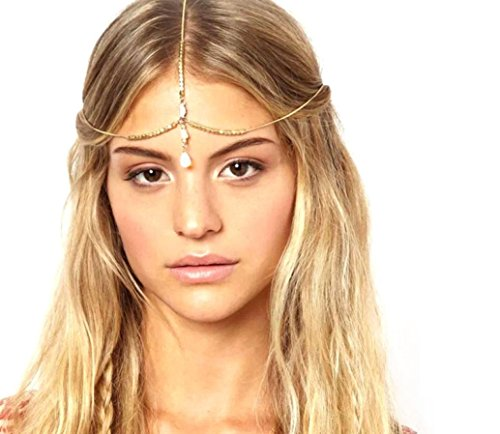 Baishitop Shell Hair Band, Multilayer Headpiece Golden Head Chain (Cleopatra Headpiece Diy)