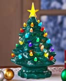 SB Goods Retro Lighted Tabletop Christmas Trees , Green Large Dolomite, Plastic Christmas Gift