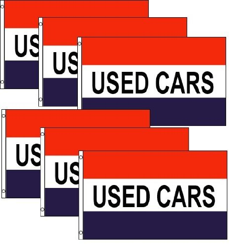 Pack of 6, Used Cars Flags 3x5ft Poly