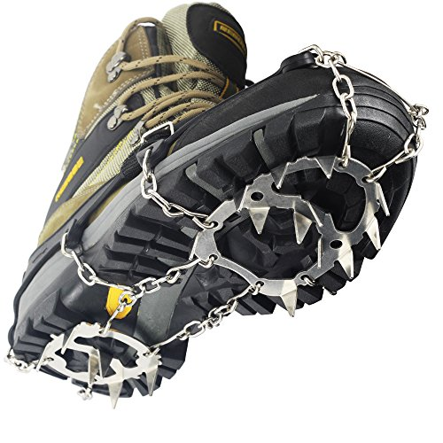 Ice & Snow Cleats Crampon - YUEDGE Universal 18 Teeth (2017 updated version) Stainless Steel Ice Grippers Traction Cleats For Winter Walking Hiking( XL )