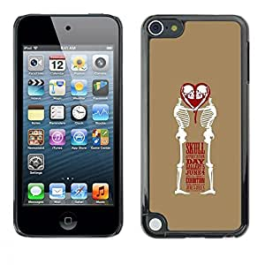 Eason Shop / Hard Slim Snap-On Case Cover Shell - Heart Skull Day June 4 Brown Heart - For Apple iPod Touch 5