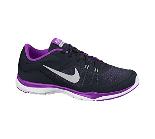 01eea06b37ec6 Nike Women s Flex Trainer 4 Training Shoe Black Purple Bright Grape Metallic  Silver 7 B(M) US  Amazon.in  Shoes   Handbags
