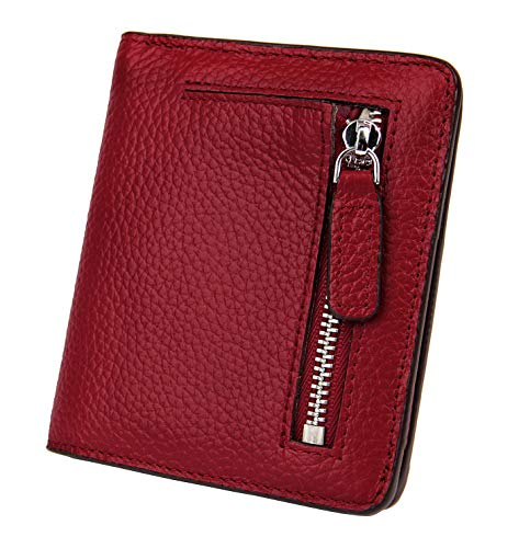 (BIG SALE-AINIMOER Women's RFID Blocking Leather Small Compact Bifold Pocket Wallet Ladies Mini Purse with id Window (Wine))