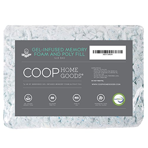 Coop Home Goods - Adjustable Shredded Gel Memory Foam and Poly Fiber Fill - 1/2 lb Refill for Eden Pillow