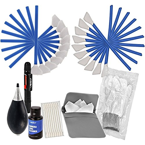 VSGO Camera Cleaning Kit All-Powerful Edition DKL-3 Full Frame and APS-C Sensor Cleaning Swab Air Blower Anti-Static Gloves Lens Pen, Blue ()