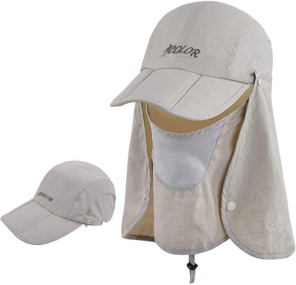 ICOLOR Sun Cap Fishing Hats Outdoor 360 Sun Protection UPF 50 Sun Caps Removable Neck Face Flap Cover Caps for Man Women Fishing Hiking Gardening
