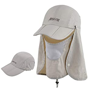 ICOLOR Sun Caps Flap Hats UV 360° Solar Protection UPF 50+ Sun Cap Shade Hat Removable Neck&Face Flap Cover Caps for Man Women Baseball Backpacking Cycling Hiking Fishing Garden Hunting Outdoor Campin